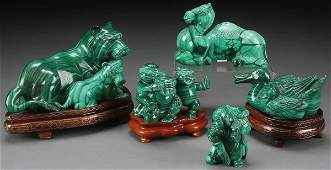 A GROUP OF FINE CHINESE CARVED MALACHITE FIGURES