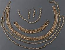 A SIX PIECE 14KT GOLD JEWELRY GROUP, CONTEMPORARY