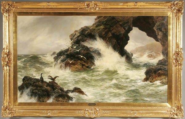 "4: PETER GRAHAM (Scottish 1836-1921) ""Sea Worn Rocks"