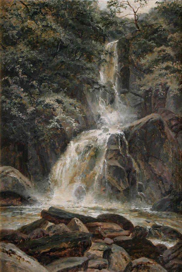 "5: EDGAR LONGSTAFFE (British 1849-1912) ""A Waterfall"