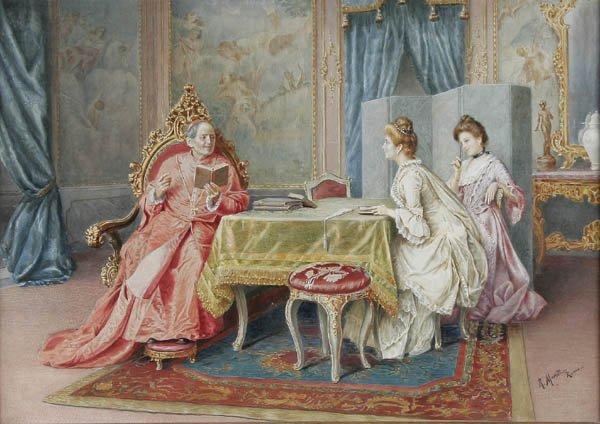 """21: R. MORETTI (Italian 19th century) """"A tete-a-tete"""