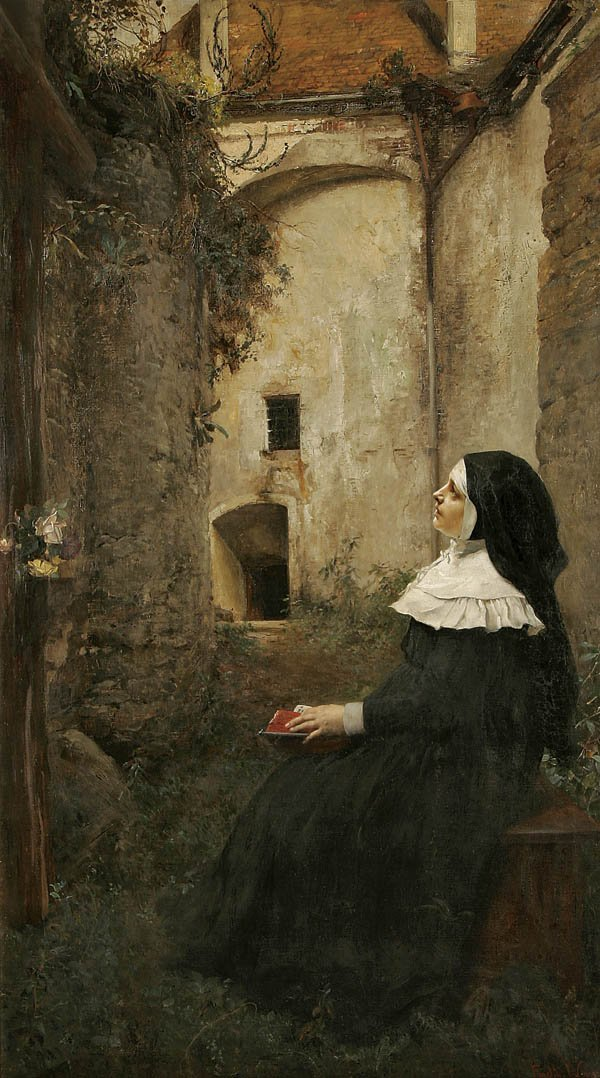 "23: FERDINAND WAGNER (German 1847-1927) ""A Nun Contem"