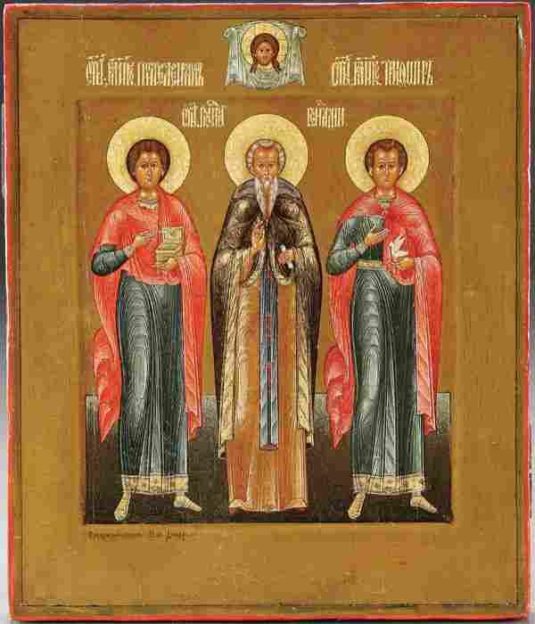 A RARE DIKAREV RUSSIAN ICON: Selected Saints, cir