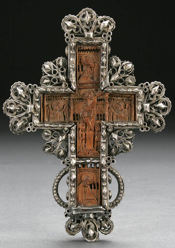 471 Carved Mt Athos Boxwood Orthodox Pectoral Cross