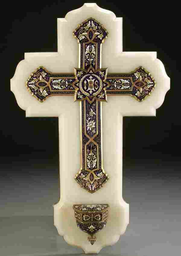 480: A MASSIVE ENAMELED CROSS & HOLY WATER FONT, GILT
