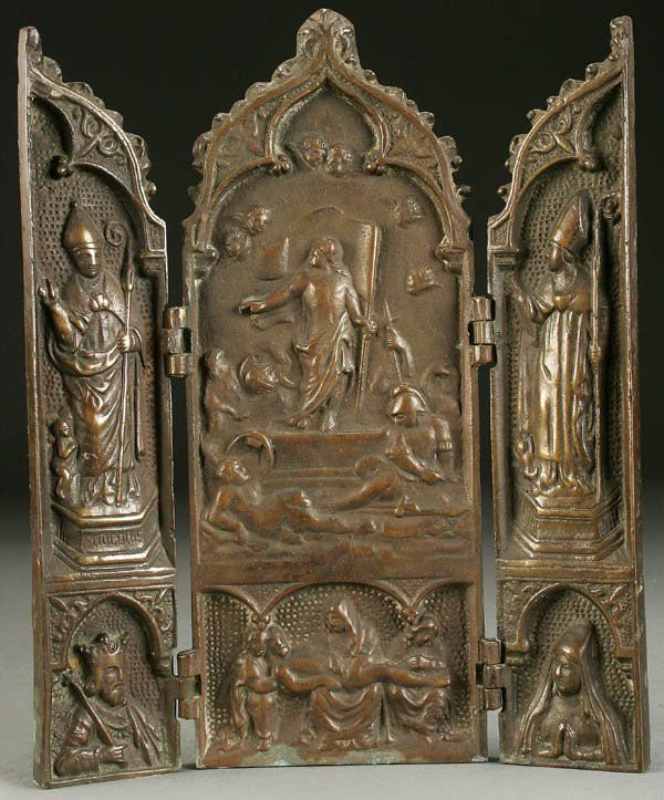 481: A LARGE BRONZE TRIPTYCH, probably German and prob