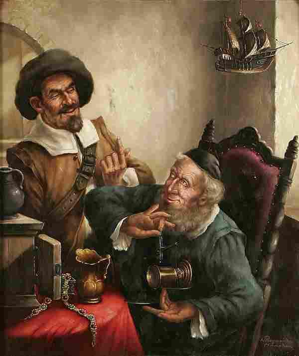 548: WALTHER PURSCHKE (German b. 1924-) The Traders. O