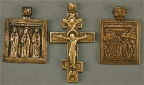 618: THREE 18TH CENTURY RUSSIAN ICONS, CAST BRONZE, a