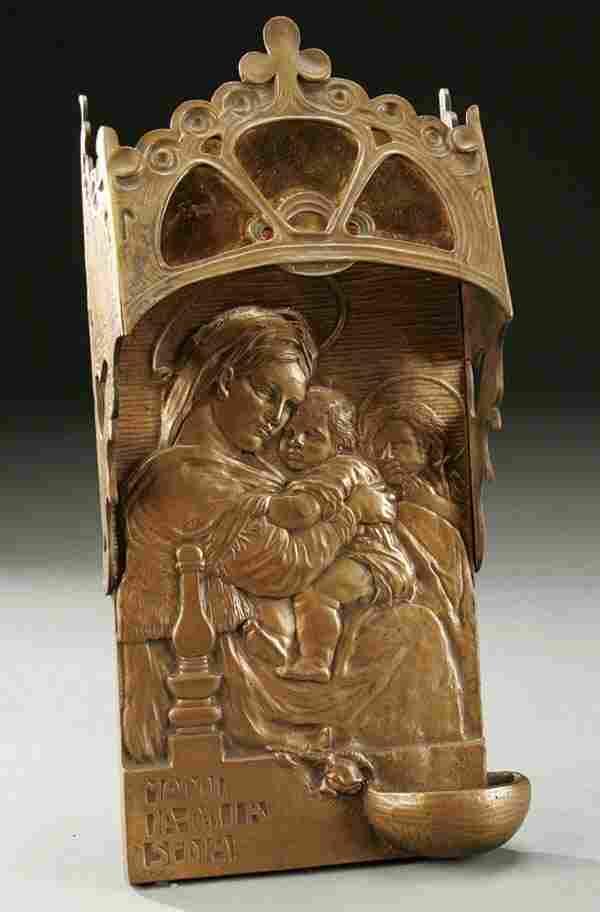 660: WALL SCONCE & HOLY WATER FONT:  ART NOUVEAU CAST