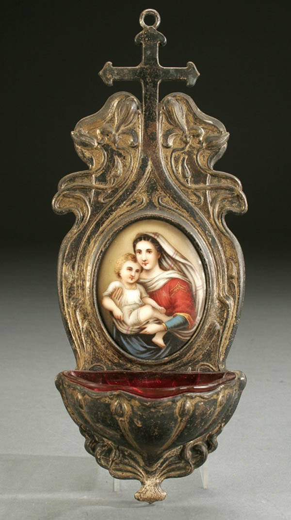 661: AN ART NOUVEAU HOLY WATER FONT: SILVERED METAL AN