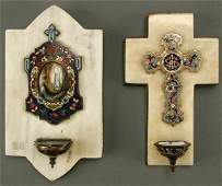 682: A PAIR OF HOLY WATER FONTS: CHAMPLEVE ENAMEL, PAI