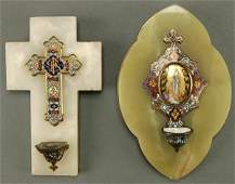 684: A PAIR OF HOLY WATER FONTS: CHAMPLEVE ENAMEL, PAI