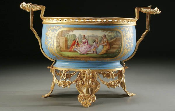 750: A LARGE SEVRES STYLE CENTER BOWL: ORMOLU MOUNTED