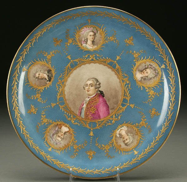 753: A SEVRES STYLE PORCELAIN PORTRAIT PLATE late 19th