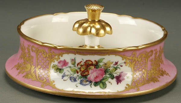 757: A FINE FRENCH SEVRES STYLE PORCELAIN DISH late 19