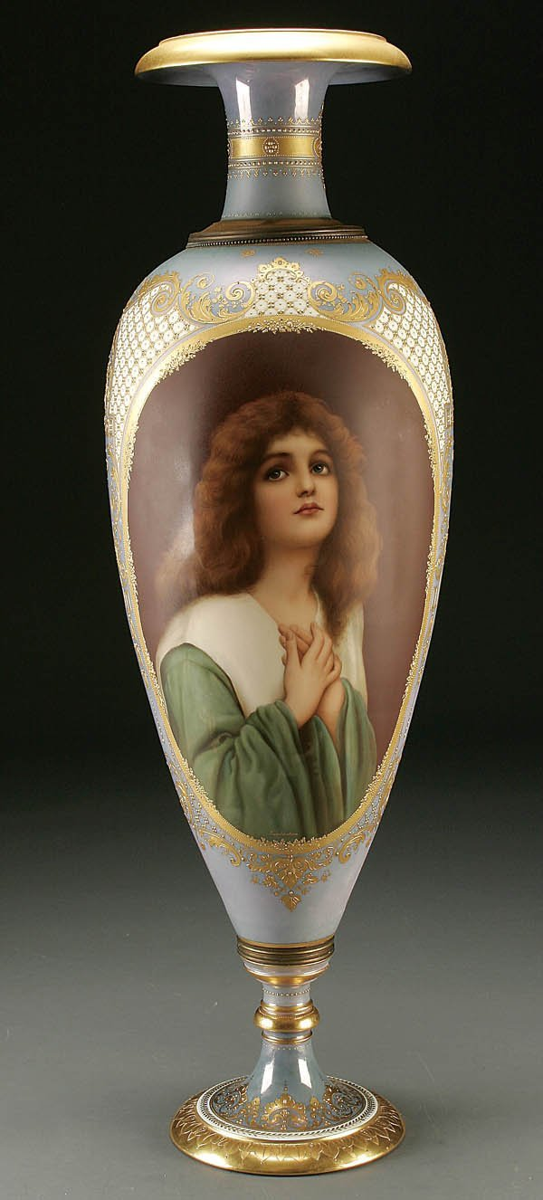 762: A ROYAL VIENNA STYLE HAND PAINTED PORTRAIT VASE ""