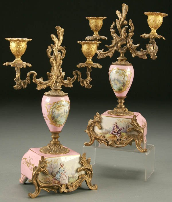 763: A PAIR OF FRENCH SEVRES STYLE CANDLE STICKS: ORMO