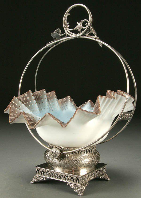 A VERY FINE VICTORIAN BRIDES BASKET circa 1890, b
