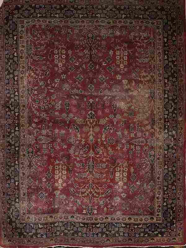 1576: TURKISH SPARTA HANDWOVEN ORIENTAL RUG circa mid 2