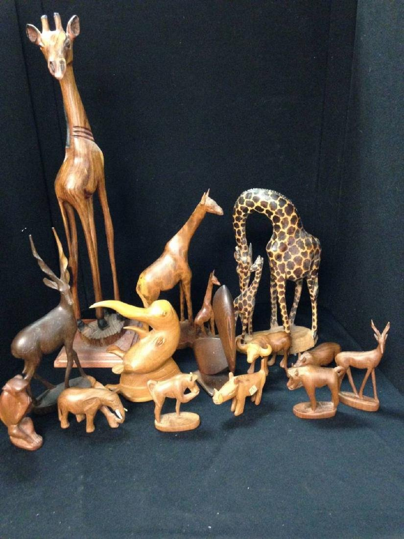 Lot of 14 Carved Wood Animals Approx 3 Inches to 23