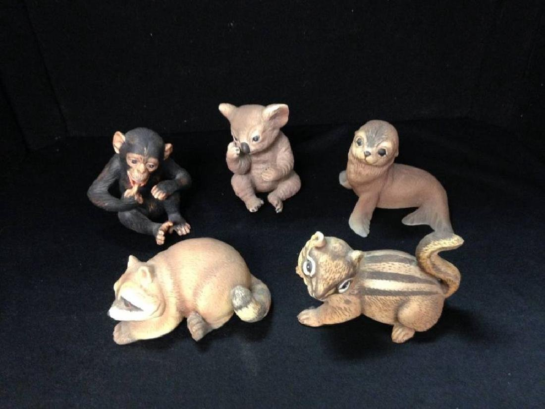 Lot Of 5 Porcelain RJ Brown Baby Animals 1978 Thru 1981