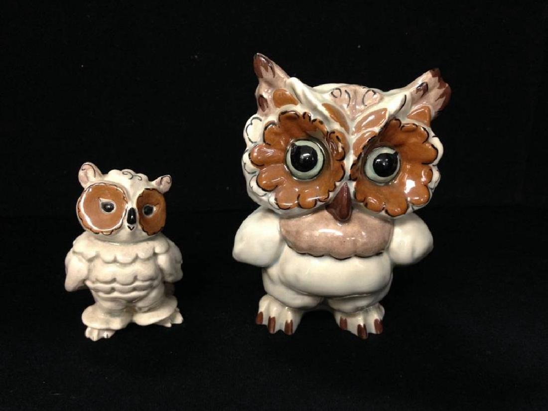 Set Of Kay Finch Owls Approx 5.5 And 3.5 Inches Tall