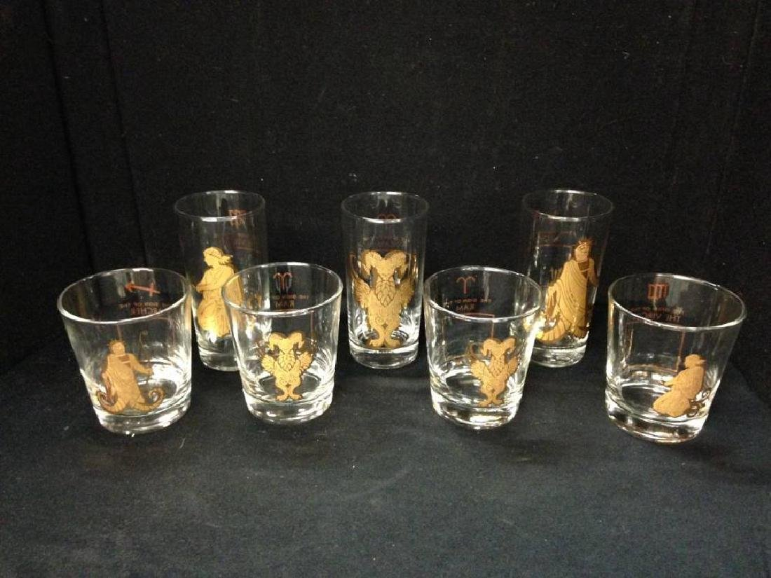 Lot Of Mid Century Zodiac  Bar Ware 3 Tumblers 4 inches