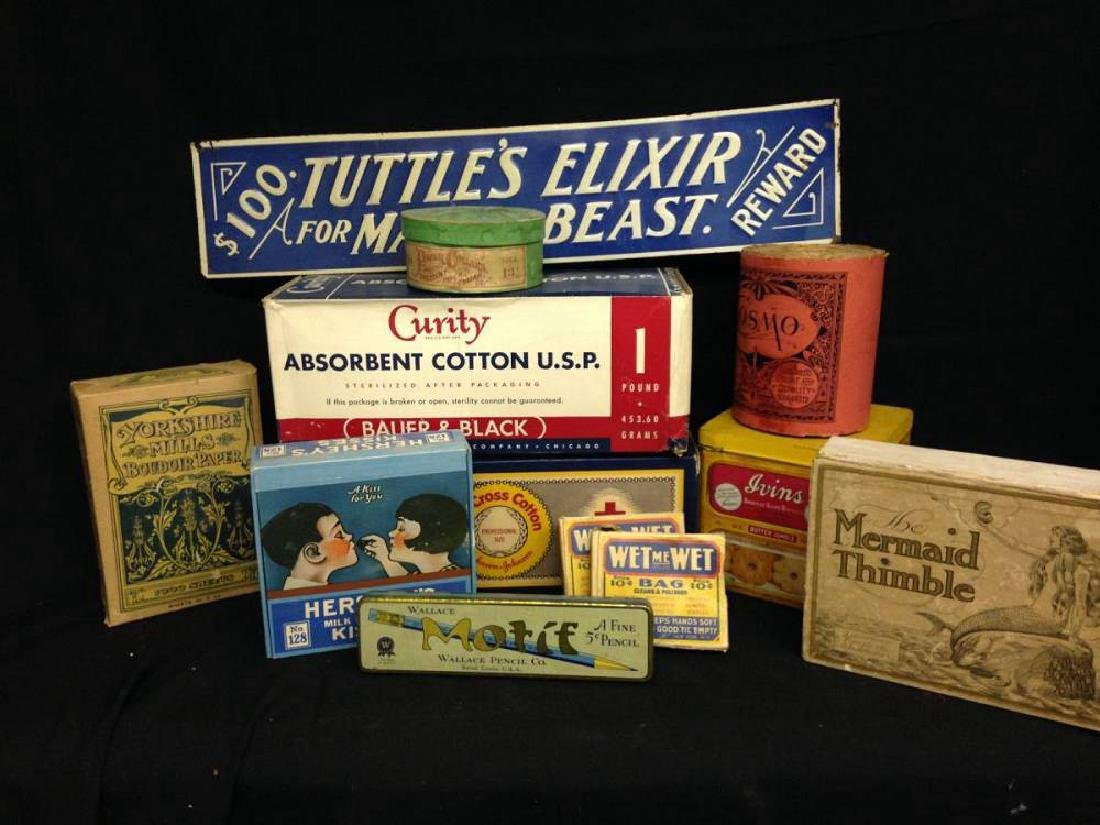 Lot Of  12 Vintage Boxes Tins And Signs