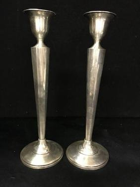 Pair Of Sterling  Weighted Candlestick Holders Approx