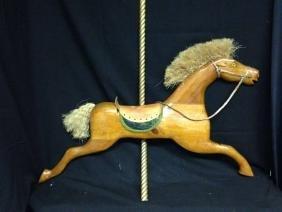 American Folk Art Wall Hanging  Wooden Carousel Horse