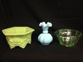 Lot Of 3 Fenton Depressed Glass Vase And Bowls