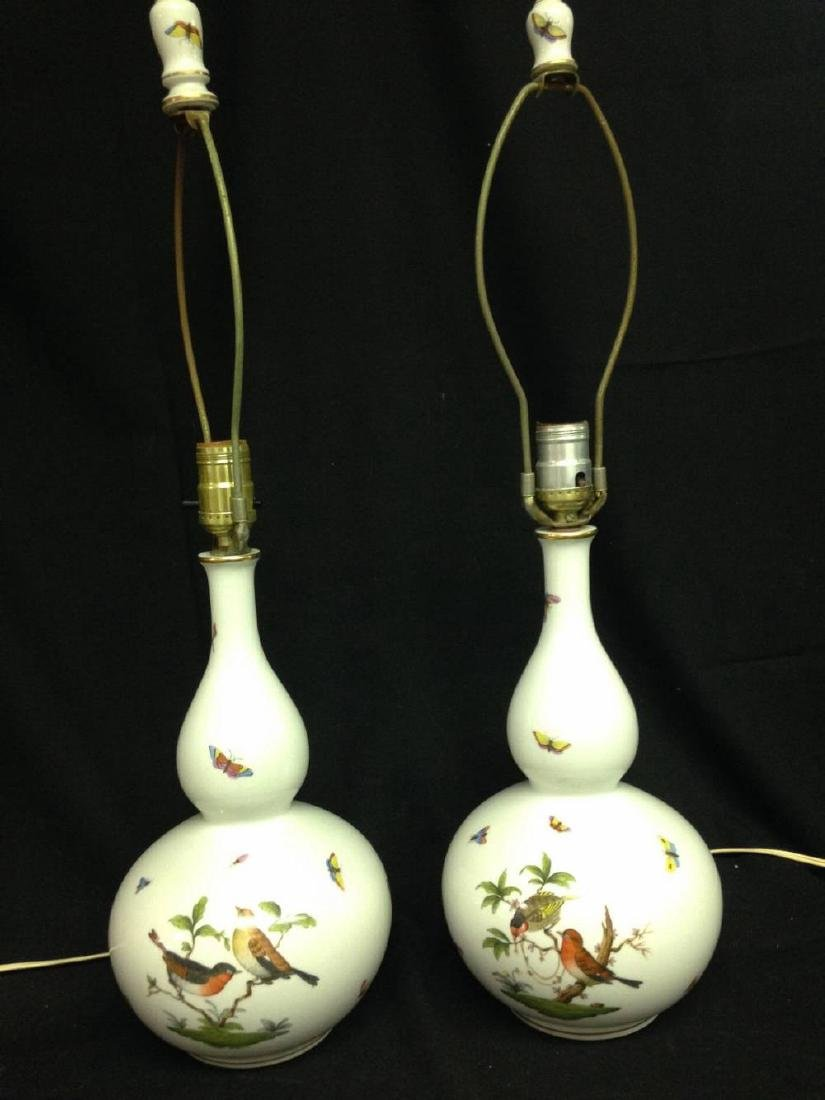 Pair Of Large Hand Painted Herend Lamps Approx 25