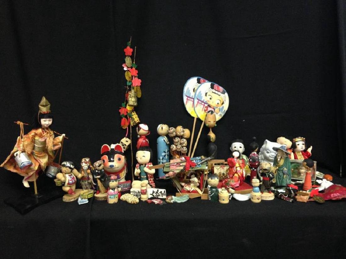 Lot Of Vintage Japanese Dolls And Figures