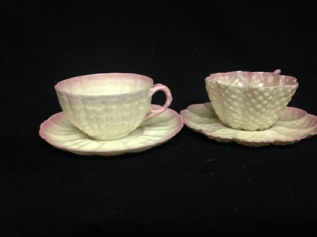 Pair Of Belleek Teacups And Saucers Pink And White