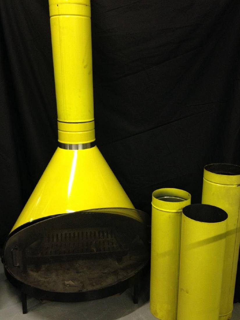 Vintage Enamel Fireplace Yellow Approx 74 Inches Tall