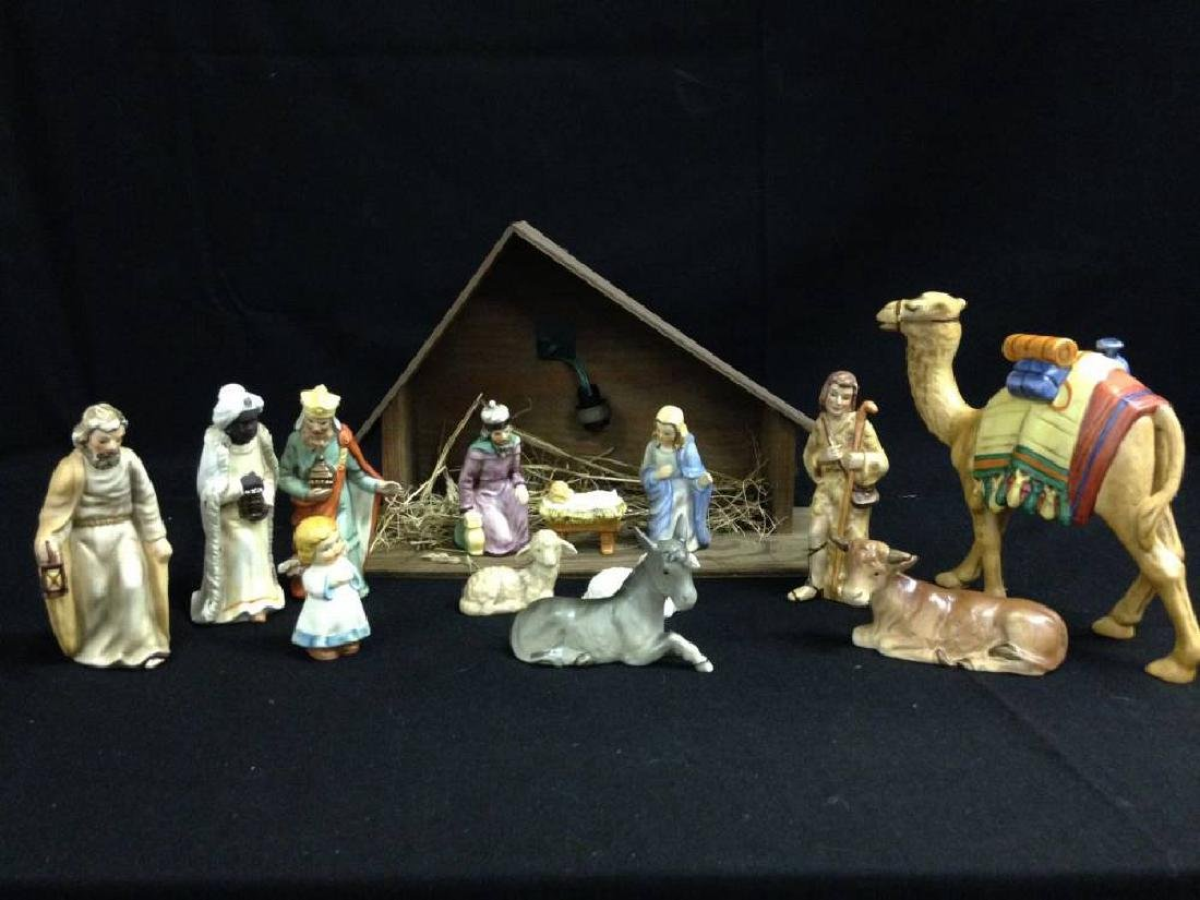 Goebel 13 Piece Nativity Set With Manger Approx 6.5