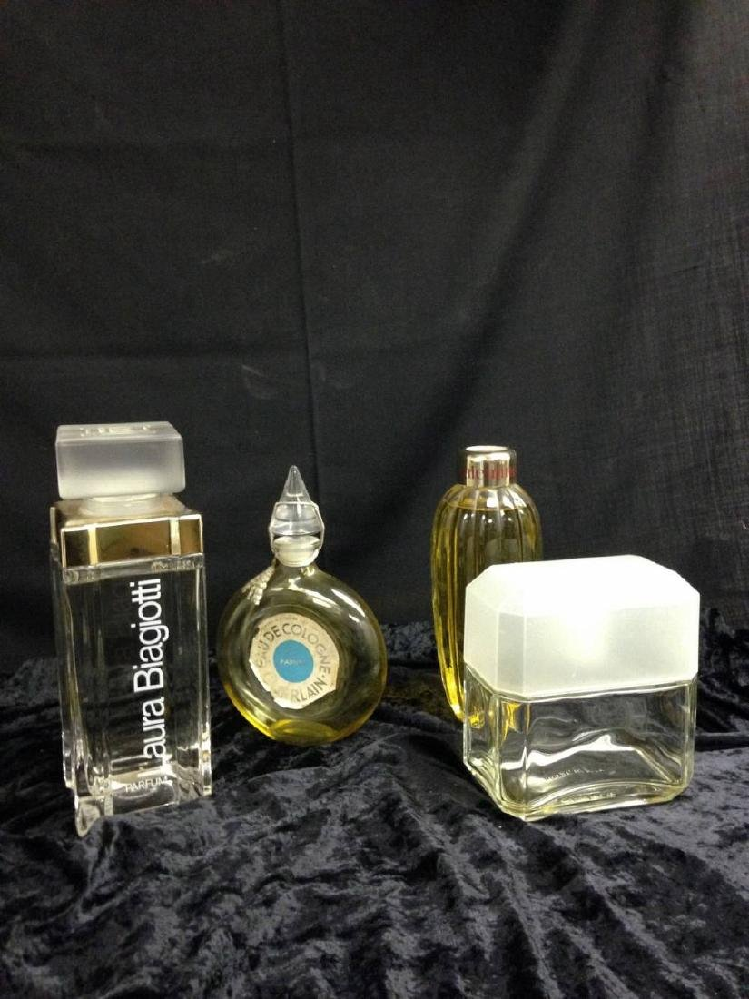 Lot Of 4 Fractice Glass  Perfume Bottles Between 7 And