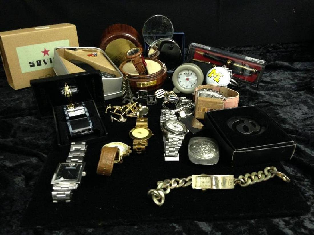 Lot of Assorted Mens Jewelry Cufflinks And Watches