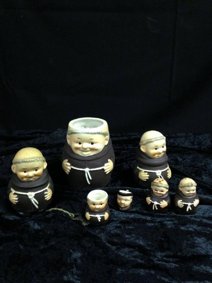 Lot Of 7 Friar Tuck Goebel Monks Cream Sugar Salt
