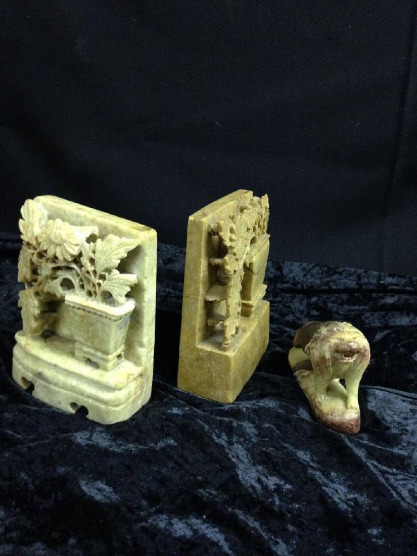 Lot Of 3 Pieces Of Chinese Soapstone Lion  Approx 4 x 3