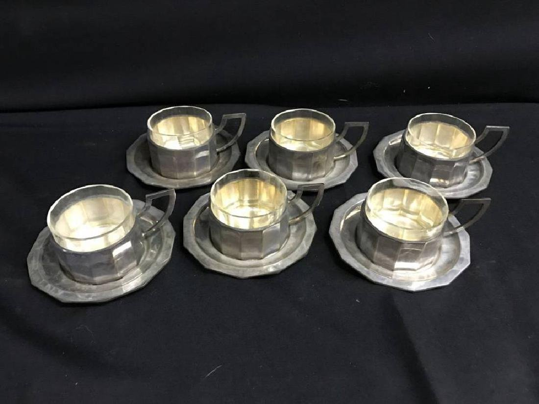 Lot Of  6 800 Silver Coffee Cups And Saucers With Glass