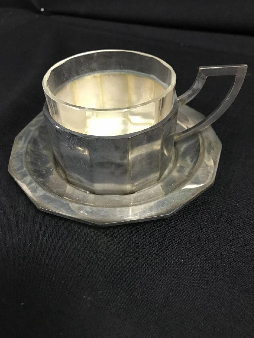 Lot Of  6 800 Silver Coffee Cups And Saucers With Glass - 2