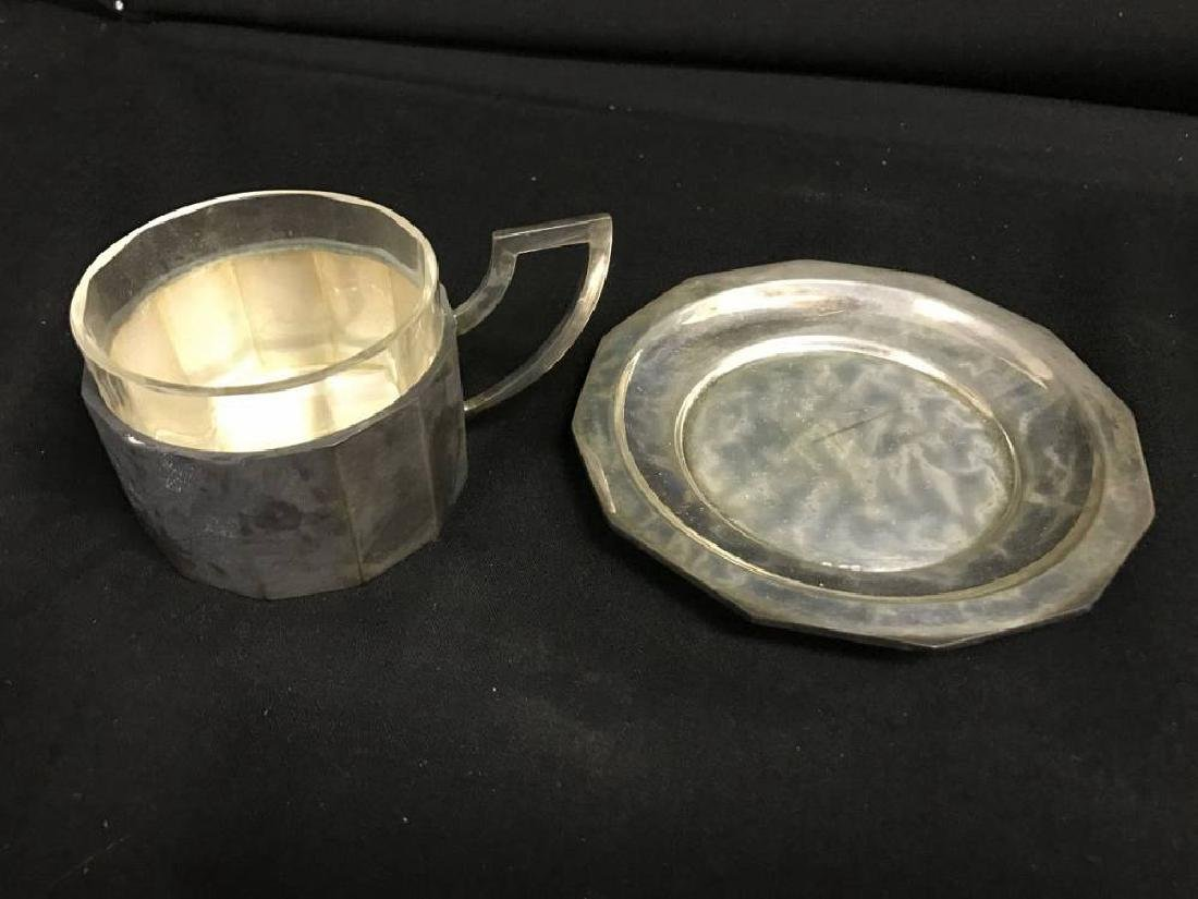 Lot Of  6 800 Silver Coffee Cups And Saucers With Glass - 3