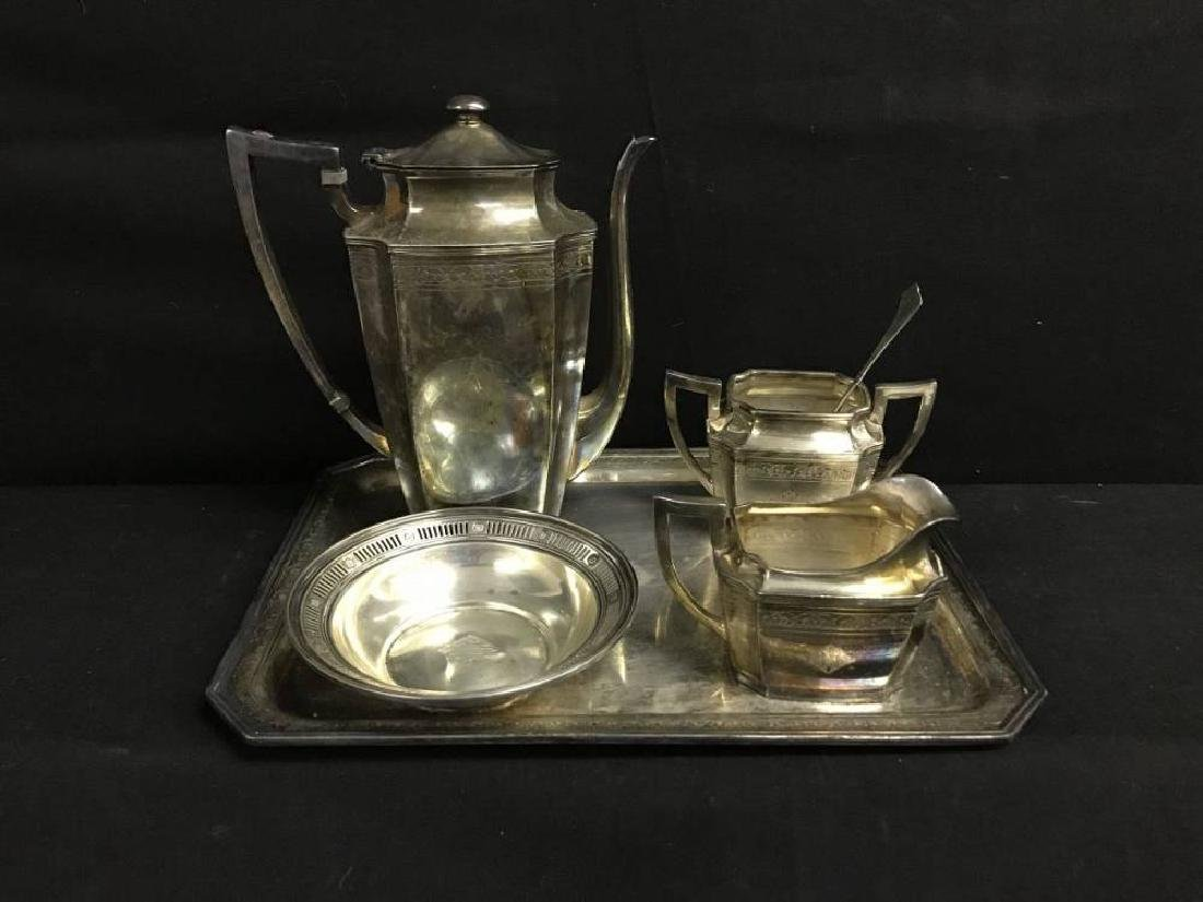 Wilcox Silver Plated engraved Tea Set With Tray And