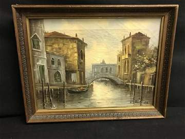 Vintage Oil Painting Of Venice Approx 18 x 14 Inches