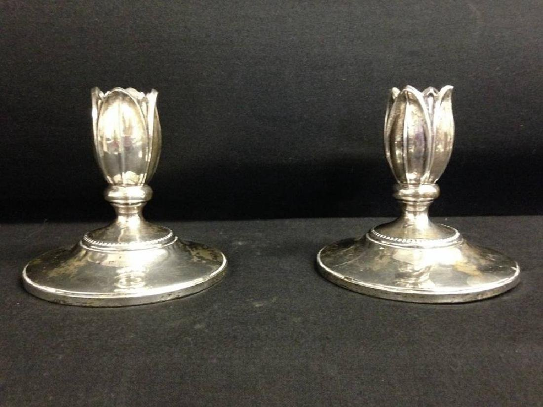 Pair of Sterling Silver Candlesticks Weighted Aprox 4