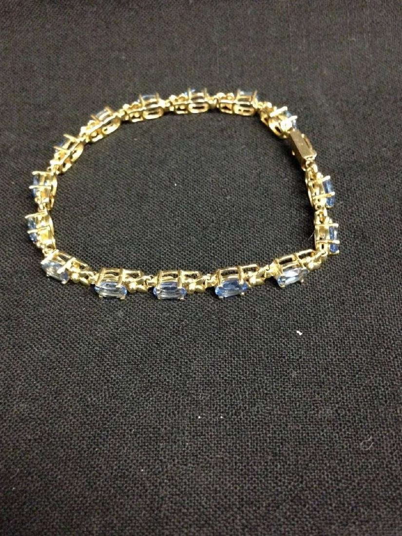 14K Gold And Topaz Bracelet Approx 7 Inches Long