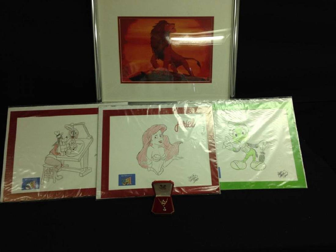 Lot of Disney Sketches With Mickey Ring And Necklace