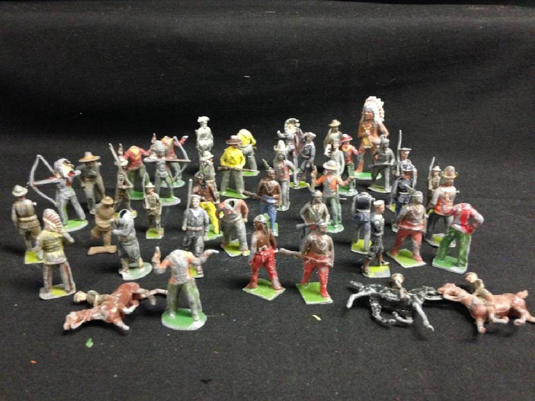 Lot Of Lead Cowboy And Indian Figures