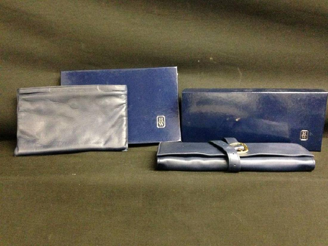 Pair Of Harry Winston Leather Travel Jewelry Pouches